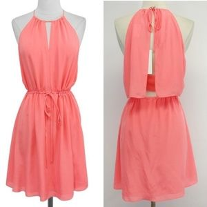 Rebecca Taylor Melon Silk Open Back Cami Dress